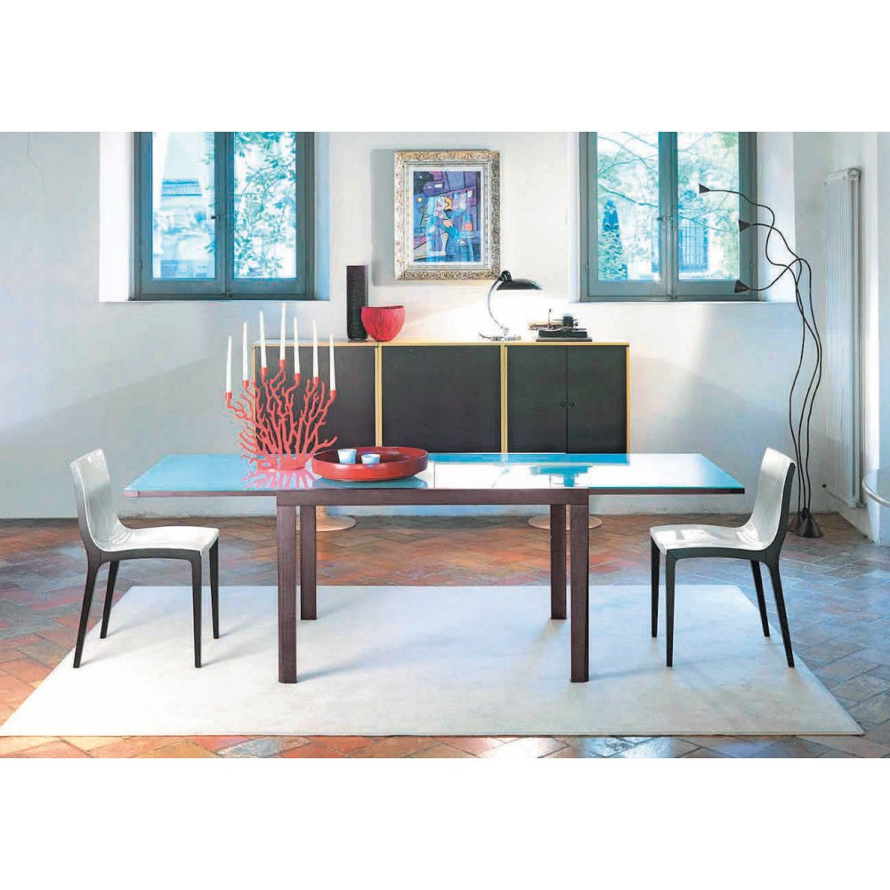 Tavolo Laccato Bianco.Compact Dimensione Tavolo 90 180 X 90 Cm Piano E Allunghe Vetro Temperato Nero Struttura Tavolo Laccato Bianco